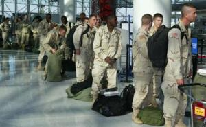 soldiers in airport